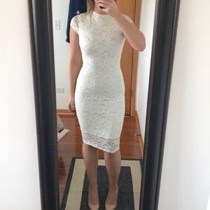 White lace stretchy midi dress